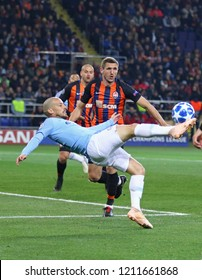 KHARKIV, UKRAINE - OCTOBER 23, 2018: David Silva of Manchester City kicks a ball during the UEFA Champions League game against Shakhtar Donetsk at OSK Metalist stadium in Kharkiv. ManCity won 3-0