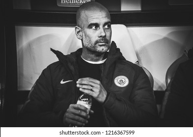 KHARKIV, UKRAINE - October 23, 2018: Coach Pep Guardiola during the UEFA Champions League match between Shakhtar Donetsk vs Manchester City (England), Ukraine
