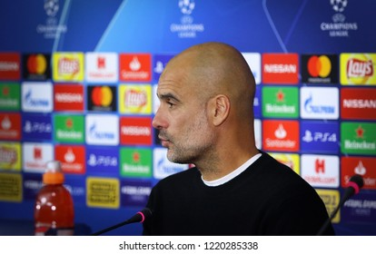 "KHARKIV, UKRAINE - OCTOBER 23, 2018: Manchester City manager Josep ""Pep"" Guardiola attends the press-conference after the UEFA Champions League game against Shakhtar Donetsk in Kharkiv, Ukraine"