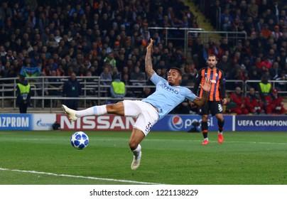 KHARKIV, UKRAINE - OCTOBER 23, 2018: Gabriel Jesus of Manchester City in action during the UEFA Champions League game against Shakhtar Donetsk at OSK Metalist stadium in Kharkiv. ManCity won 3-0