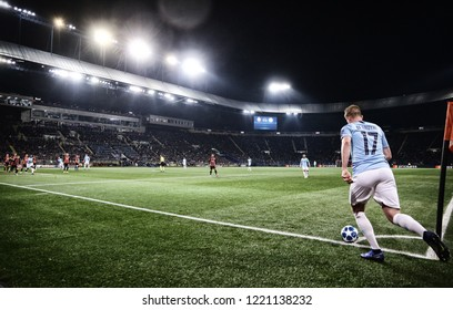 KHARKIV, UKRAINE - OCTOBER 23, 2018: Kevin De Bruyne of Manchester City performs a corner kick during the UEFA Champions League game against Shakhtar Donetsk at OSK Metalist stadium. ManCity won 3-0