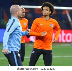 KHARKIV, UKRAINE - OCTOBER 23, 2018: Leroy Sane of Manchester City runs during training session before the UEFA Champions League game against Shakhtar Donetsk at OSK Metalist stadium in Kharkiv