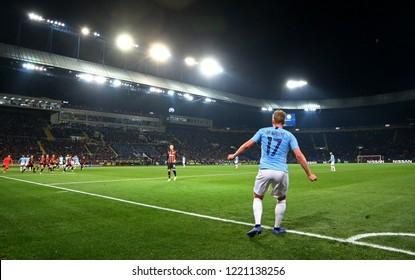 KHARKIV, UKRAINE - OCTOBER 23, 2018: Kevin De Bruyne of Manchester City performs a corner kick during the UEFA Champions League game against Shakhtar Donetsk at OSK Metalist stadium. ManCity won 3-0