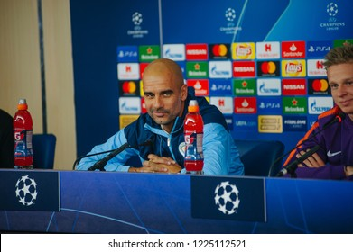 Kharkiv, Ukraine - october 23, 2018: Head coach Josep Pep Guardiola. Close-up portrait. UEFA Champions League press-conference Shakhtar-Manchester City at Metalist stadium.