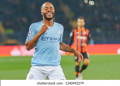 KHARKIV, UKRAINE - OCTOBER 23, 2018: Emotional portrait Raheem Sterling in the UEFA Champions League game against Shakhtar Donetsk at OSK Metalist stadium.