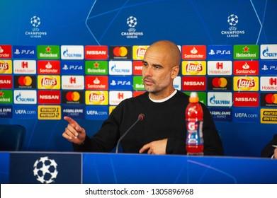 KHARKIV, UKRAINE - OCTOBER 23, 2018: Manager Josep Pep Guardiola attends press conference after UEFA Champions League game Manchester City vs Shakhtar Donetsk in Kharkiv, Ukraine