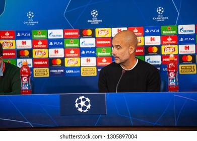Kharkiv, Ukraine - october 23, 2018: Head coach Josep Pep Guardiola. Close-up portrait. UEFA Champions League press-conference Shakhtar vs Manchester City at Metalist stadium.