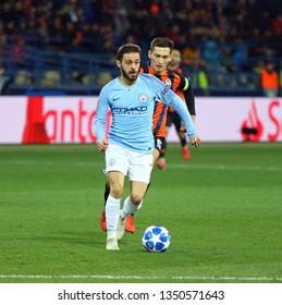 KHARKIV, UKRAINE - OCTOBER 23, 2018: Bernardo Silva of Manchester City in action during the UEFA Champions League game against Shakhtar Donetsk at OSK Metalist stadium in Kharkiv. ManCity won 3-0