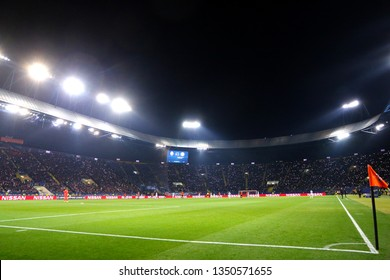 KHARKIV, UKRAINE - OCTOBER 23, 2018: Panoramic view of OSK Metalist stadium in Kharkiv during UEFA Champions League game between Shakhtar Donetsk and Manchester City. ManCity won 3-0