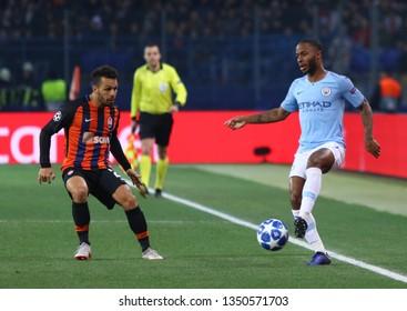 KHARKIV, UKRAINE - OCTOBER 23, 2018: Raheem Sterling of Manchester City (R) controls a ball during the UEFA Champions League game against Shakhtar Donetsk at OSK Metalist stadium. ManCity won 3-0
