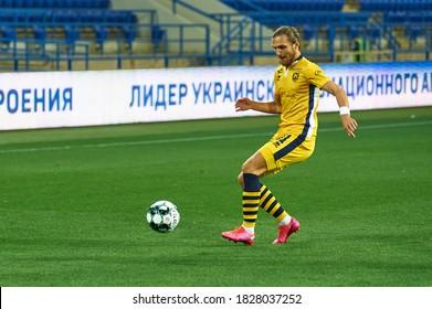 KHARKIV, UKRAINE - OCTOBER 5, 2020: Artem Kholod. Football match of PFL Metallist-1925 - Polissya