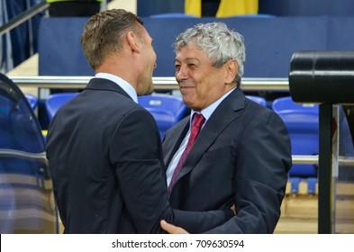 KHARKIV, UKRAINE - September 02, 2017: Andrey Shevchenko talking with Mircea Lucescu during the FIFA World Cup 2018 qualifying game of Ukraine national team against Turkish National Team, Ukraine