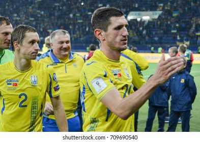 KHARKIV, UKRAINE - September 02, 2017: Ukrainian team thanks the fans during the FIFA World Cup 2018 qualifying game of Ukraine national team against Turkish, Ukraine