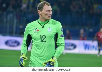 KHARKIV, UKRAINE - September 02, 2017: Andriy Pyatov during the FIFA World Cup 2018 qualifying game of Ukraine national team against Turkish National Team, Ukraine