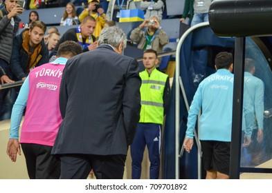 KHARKIV, UKRAINE - September 02, 2017: Coach Mircea Lucescu during the FIFA World Cup 2018 qualifying game of Ukraine national team against Turkish National Team, Ukraine