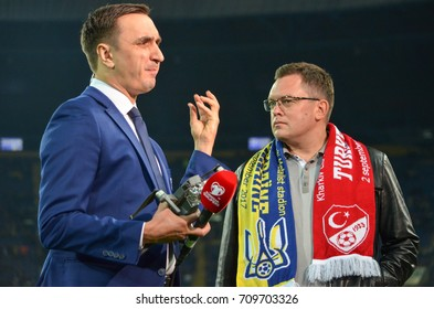 KHARKIV, UKRAINE - September 02, 2017: The leader communicates with the fan on the camera during the FIFA World Cup 2018 qualifying game of Ukraine national team against Turkish, Ukraine