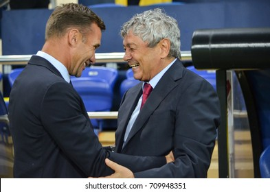 KHARKIV, UKRAINE - September 02, 2017: Andrey Shevchenko talking with Mircea Lucescu during the FIFA World Cup 2018 qualifying game of Ukraine national team against Turkish National Team, Ukraine