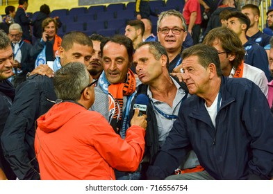 KHARKIV, UKRAINE - September 13, 2017: Fans of Napoli communicate with reporters during the UEFA Champions League match between Shakhtar vs SSC Napoli, Ukraine