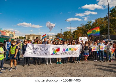 Kharkiv, Ukraine - September 15, 2019: Kharkiv Pride. LGBT parade, March of equality for the rights of gays, lesbians, transvestites. Gender non-binary people fight for rights.