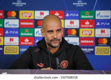 Kharkiv, Ukraine - September 17, 2019: Press-conference UEFA Champions League game Shakhtar Donetsk and Manchester City. Portrait of head coach, manager of Manchester City Josep Pep Guardiola