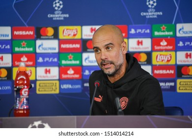 Kharkiv, Ukraine – September 18, 2019: Close-up emotional portrait of Manchester City head coach, manager Pep Guardiola during the press conference UEFA Champions League match. New emotion