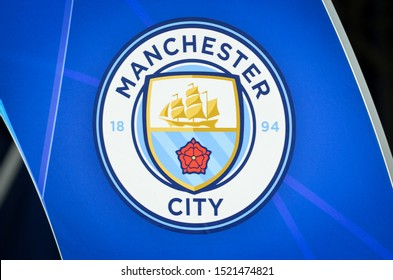 KHARKIV, UKRAINE - September 18, 2019: Manchester City official logo and emblem closeup during the UEFA Champions League match, Ukraine