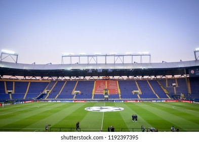 KHARKIV, UKRAINE - SEPTEMBER 19, 2018: General view of the Metalist stadium during UEFA Champions League match between Shakhtar Donetsk vs TSG 1899 Hoffenheim (Germany), Ukraine