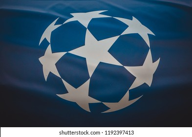 KHARKIV, UKRAINE - SEPTEMBER 19, 2018: Logo and emblem of the Champions League close-up during UEFA Champions League match between Shakhtar Donetsk vs TSG 1899 Hoffenheim (Germany), Ukraine