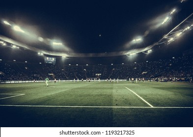 KHARKIV, UKRAINE - SEPTEMBER 19, 2018: General view of the Metalist stadium during UEFA Champions League match between Shakhtar Donetsk vs TSG 1899 Hoffenheim (Germany), Ukraine