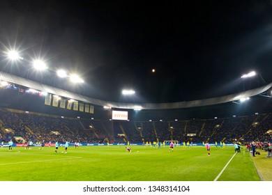 KHARKIV, UKRAINE - SEPTEMBER 2, 2017: Panoramic view of OSC Metalist stadium in Kharkiv during the FIFA World Cup 2018 qualifying game Ukraine v Turkey. Ukraine won 2-0