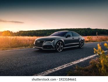 Kharkiv, Ukraine - September 2019: Audi RS7 Sportback at beautiful sunset