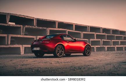 Kharkiv, Ukraine - September 2020: Mazda MX5 in Soul Red Crystal Metallic