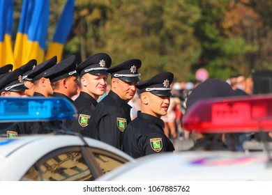 Kharkiv, Ukraine - September 26, 2015: New patrol police recruits taking oath in Kharkiv, Ukraine.