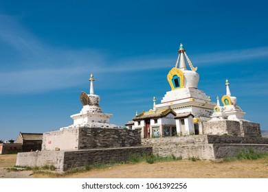 KHARKORIN, MONGOLIA - Jun 28 2017: The Golden Stupa at Erdene Zuu Monastery in Kharkhorin (Karakorum), Mongolia. It is part of the Orkhon Valley Cultural Landscape World Heritage Site.