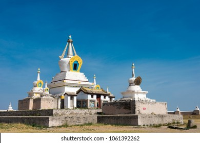 KHARKORIN, MONGOLIA - Jun 28 2017: The Golden Stupa at Erdene Zuu Monastery in Kharkhorin (Karakorum), Mongolia. It is part of the Orkhon Valley Cultural Landscape World Heritage Site.