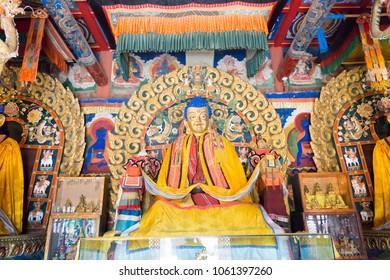 KHARKORIN, MONGOLIA - Jun 28 2017: Buddha Statue at Erdene Zuu Monastery (World Heritage) in Kharkhorin (Karakorum), Mongolia. It is part of the Orkhon Valley Cultural Landscape World Heritage Site.