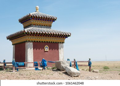 KHARKORIN, MONGOLIA - Jun 28 2017: Stupa in Kharkhorin (Karakorum), Mongolia. Karakorum was the capital of the Mongol Empire between 1235 and 1260.