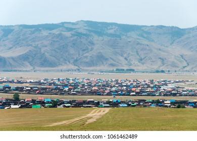 KHARKORIN, MONGOLIA - Jun 28 2017: View of Kharkhorin in Kharkhorin (Karakorum), Mongolia. Karakorum was the capital of the Mongol Empire between 1235 and 1260.