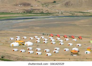 KHARKORIN, MONGOLIA - Jun 29 2017: Tourist Ger Camp in Kharkhorin (Karakorum), Mongolia. Karakorum was the capital of the Mongol Empire between 1235 and 1260.