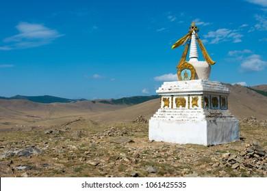 KHARKORIN, MONGOLIA - Jun 29 2017: Stupa in Kharkhorin (Karakorum), Mongolia. Karakorum was the capital of the Mongol Empire between 1235 and 1260.