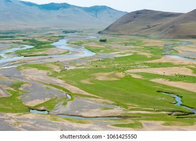KHARKORIN, MONGOLIA - Jun 29 2017: Orkhon Valley in Kharkhorin (Karakorum), Mongolia. It is part of the Orkhon Valley Cultural Landscape World Heritage Site.