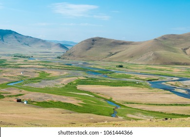 KHARKORIN, MONGOLIA - Jun 29 2017: Orkhon Valley in Kharkhorin (Karakorum), Mongolia. It is part of the Orkhon Valley Cultural Landscape World Heritage Site.