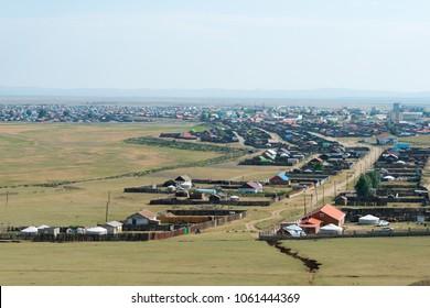 KHARKORIN, MONGOLIA - Jun 29 2017: View of Kharkhorin in Kharkhorin (Karakorum), Mongolia. Karakorum was the capital of the Mongol Empire between 1235 and 1260.