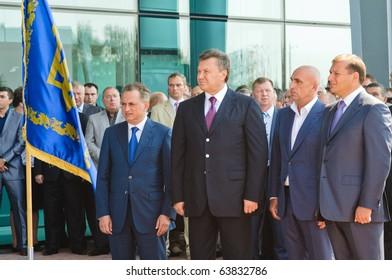 KHARKOV, UA - AUGUST 28: President of Ukraine Viktor Yanukovitch celebrates the opening of a new terminal at the Kharkov airport AUGUST 28, 2010 in Kharkov, Ukraine