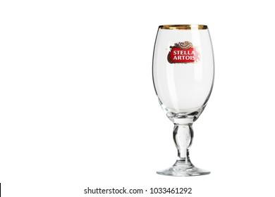 Kharkov, Ukraine - 02.22.2018: glass of Stella Artois isolated on white background.