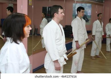 KHARKOV, UKRAINE - 1 AUGUST 2016: aikido training