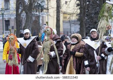 KHARKOV, UKRAINE- 26 FEBRUARY 2017 : Traditional celebration carnival costume show in the town square.Kharkov. Ukraine-2017
