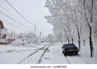 KHARKOV, UKRAINE - April 19, 2017: Unexpected rapid fallout of snow in April on the Kharkov streets. Residential houses, trees and cars under a thick layer of snow