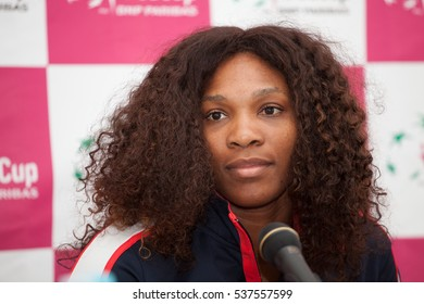 KHARKOV, UKRAINE - APRIL 19: Serena Williams talks to press during Fed Cup Tie between USA and Ukraine in Superior Golf & Spa Resort, Kharkov, Ukraine at April 19, 2012