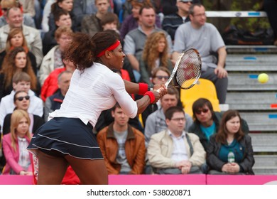 KHARKOV, UKRAINE - APRIL 22, 2012: Serena Williams vs Lesia Tsurenko during Fed Cup tie match between USA and Ukraine in Superior Golf and Spa Resort, Kharkov, Ukraine